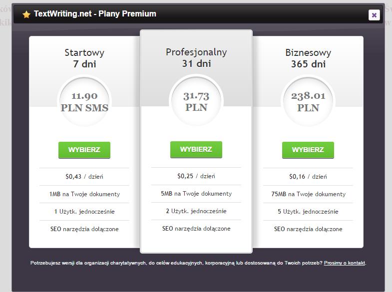 TextWriting - opcje premium