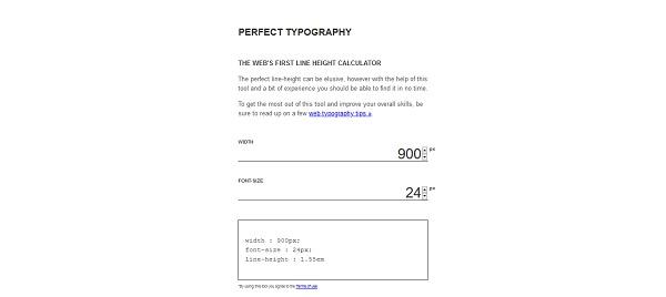 Kalkulatory typograficzne dla webdesignerów: Perfect Typography
