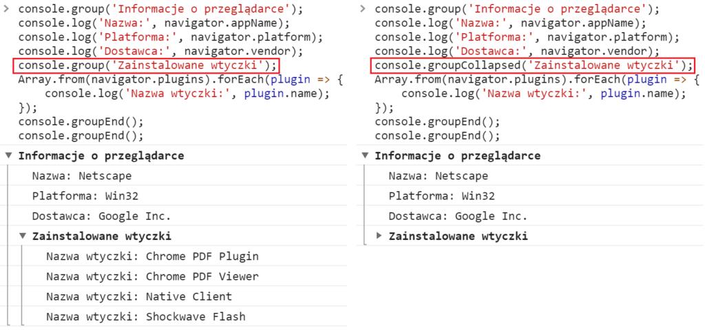 Jak zostać programistą - konsola JavaScript group