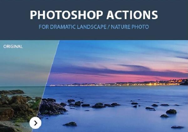 Darmowe akcje Photoshop dla początkujących grafików - Dramatic landscape